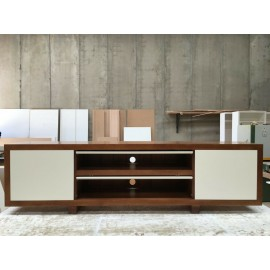 2200 mm THT-022P Tasmania Oak High Gloss Polyurethane TV Unit Twin Pocket Doors
